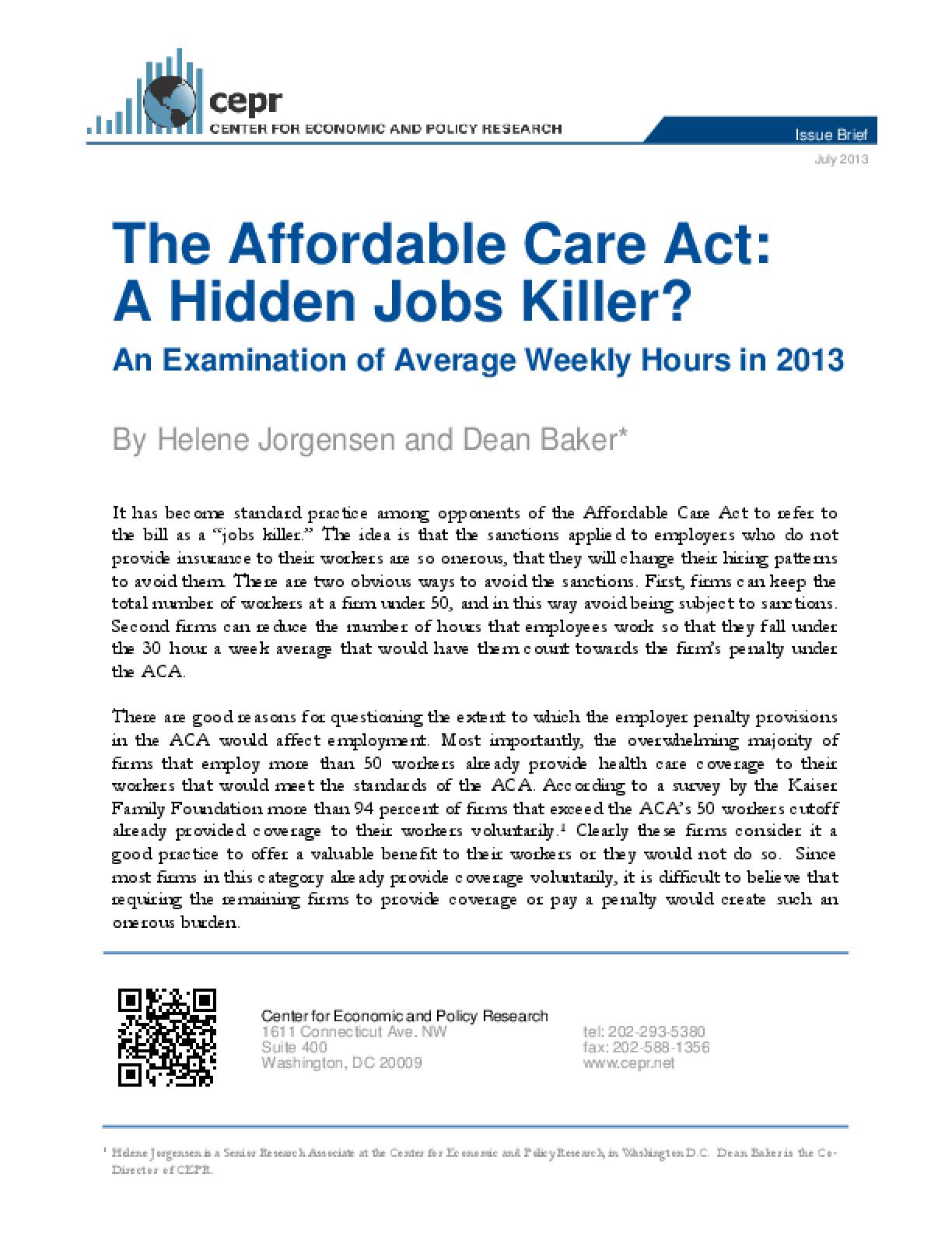 The Affordable Care Act: A Hidden Jobs Killer?