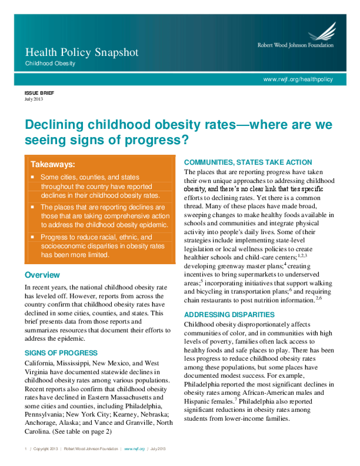 Declining Childhood Obesity Rates - Where Are We Seeing Signs of Progress?