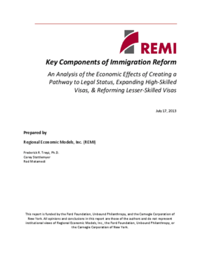 Key Components of Immigration Reform: An Analysis of the Economic Effects of Creating a Pathway to Legal Status, Expanding High-Skilled Visas, & Reforming Lesser-Skilled Visas