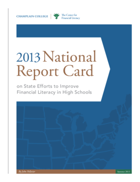 2013 National Report Card on State Efforts to Improve Financial Literacy in High Schools