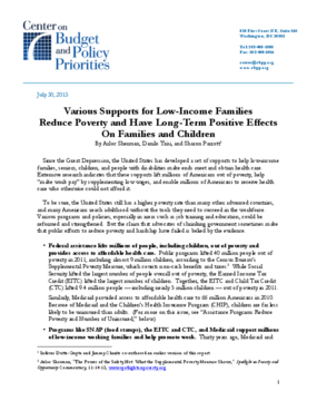 Various Supports for Low-Income Families Reduce Poverty and Have Long-Term Positive Effects On Families and Children