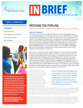 Patching the Pipeline: Addressing Teacher Satisfaction and Retention in Duval County