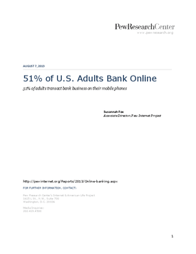 51% of U.S. Adults Bank Online