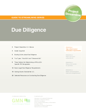Guide to Streamlining Series: Due Diligence