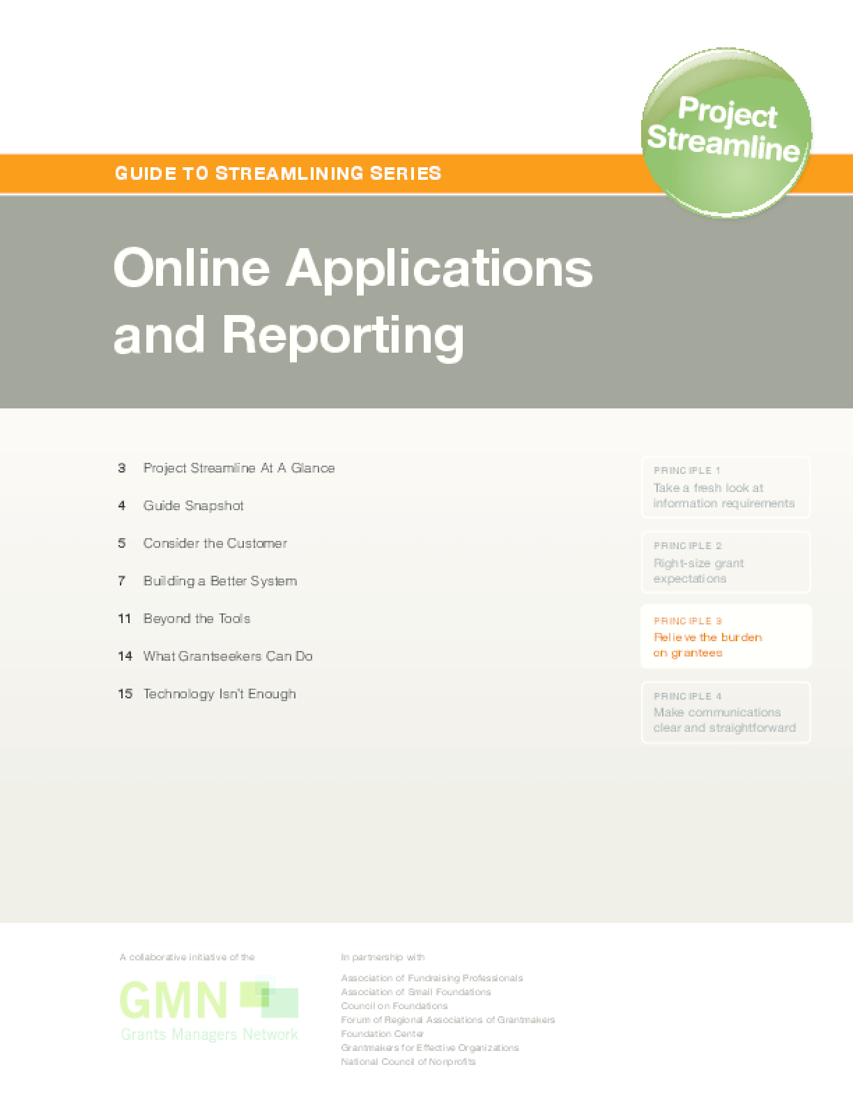 Guide to Streamlining Series: Online Applications and Reporting
