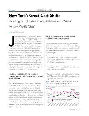 New York's Great Cost Shift: How Higher Education Cuts Undermine the State's Future Middle Class