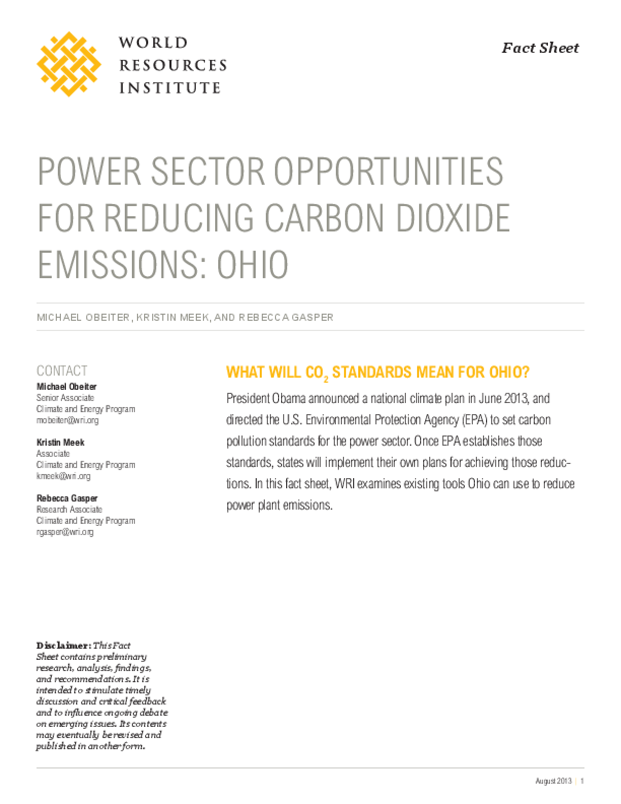 Power Sector Opportunities for Reducing Carbon Dioxide Emissions: Ohio