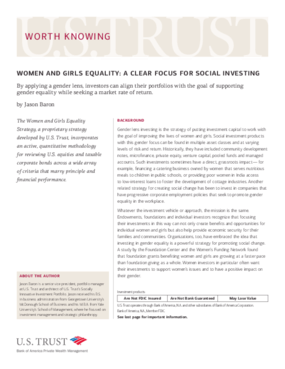 Women and Girls Equality: A Clear Focus For Social Investing