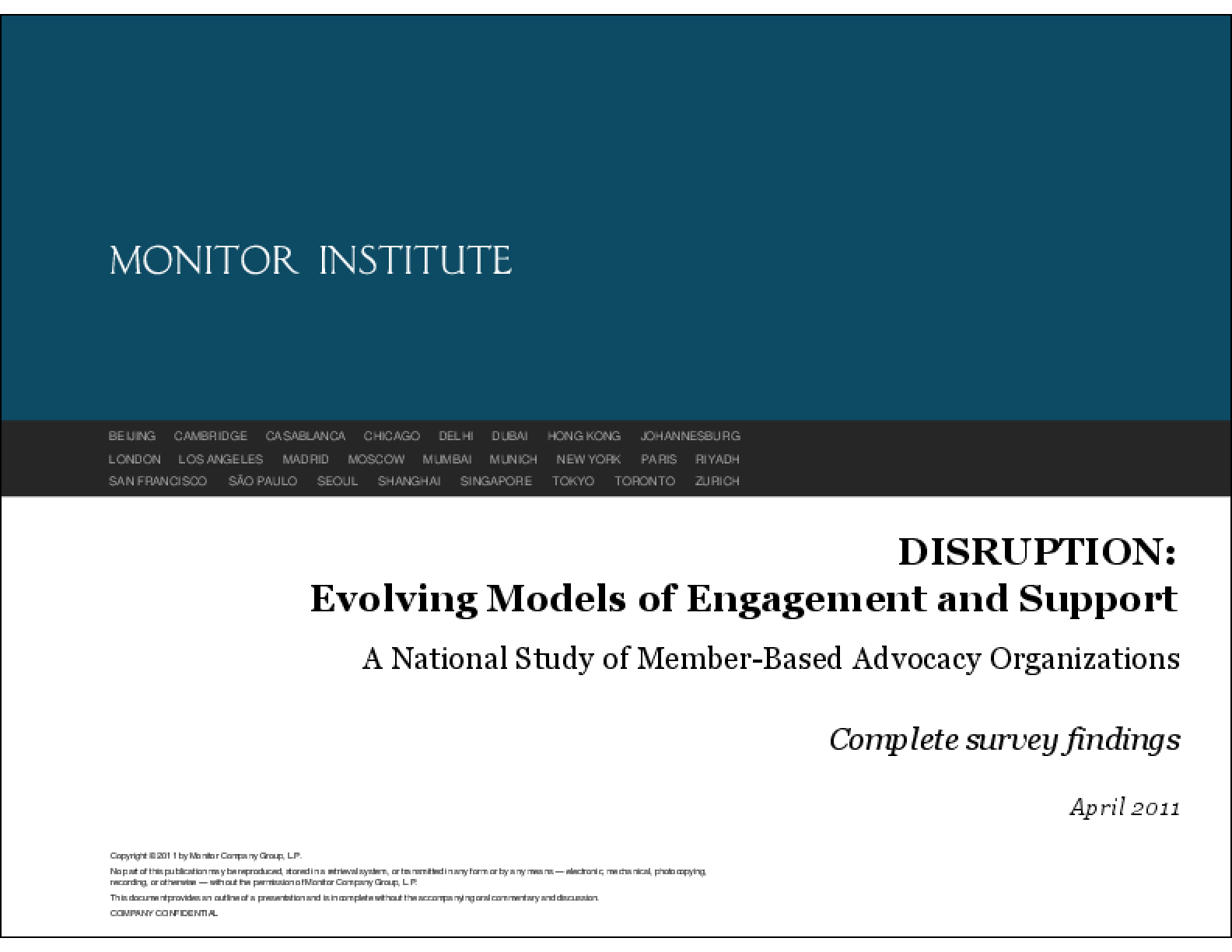 DISRUPTION: Evolving Models of Engagement and Support