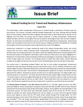 Issue Brief: Federal Funding for U.S. Transit and Roadway Infrastructure