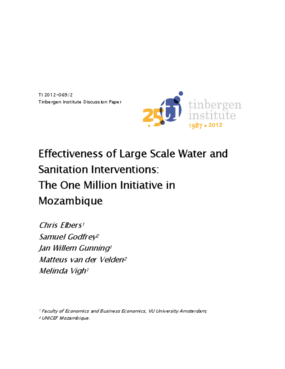 Effectiveness of Large Scale Water and Sanitation Interventions: The One Million Initiative in Mozambique
