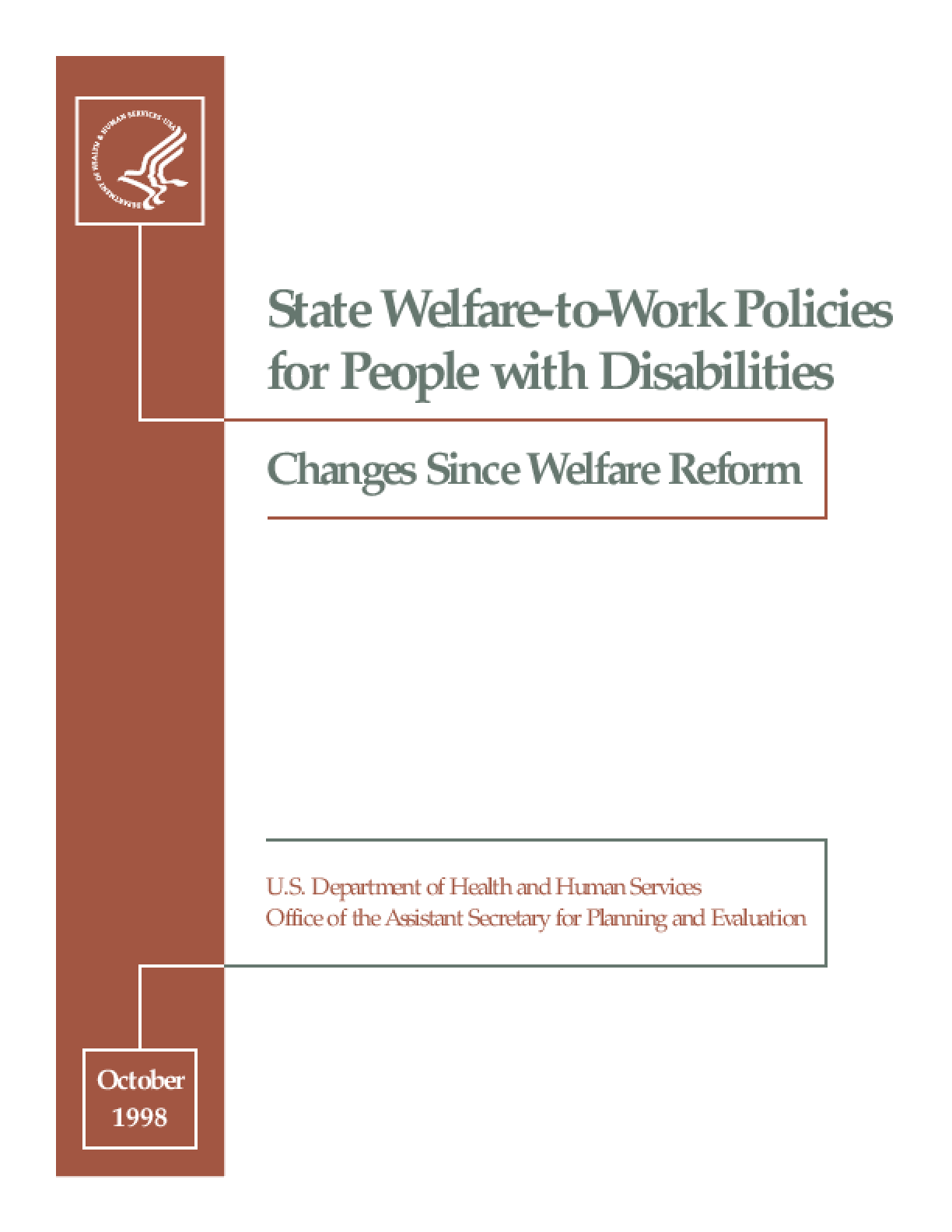 State Welfare-to-Work Policies for People with Disabilities