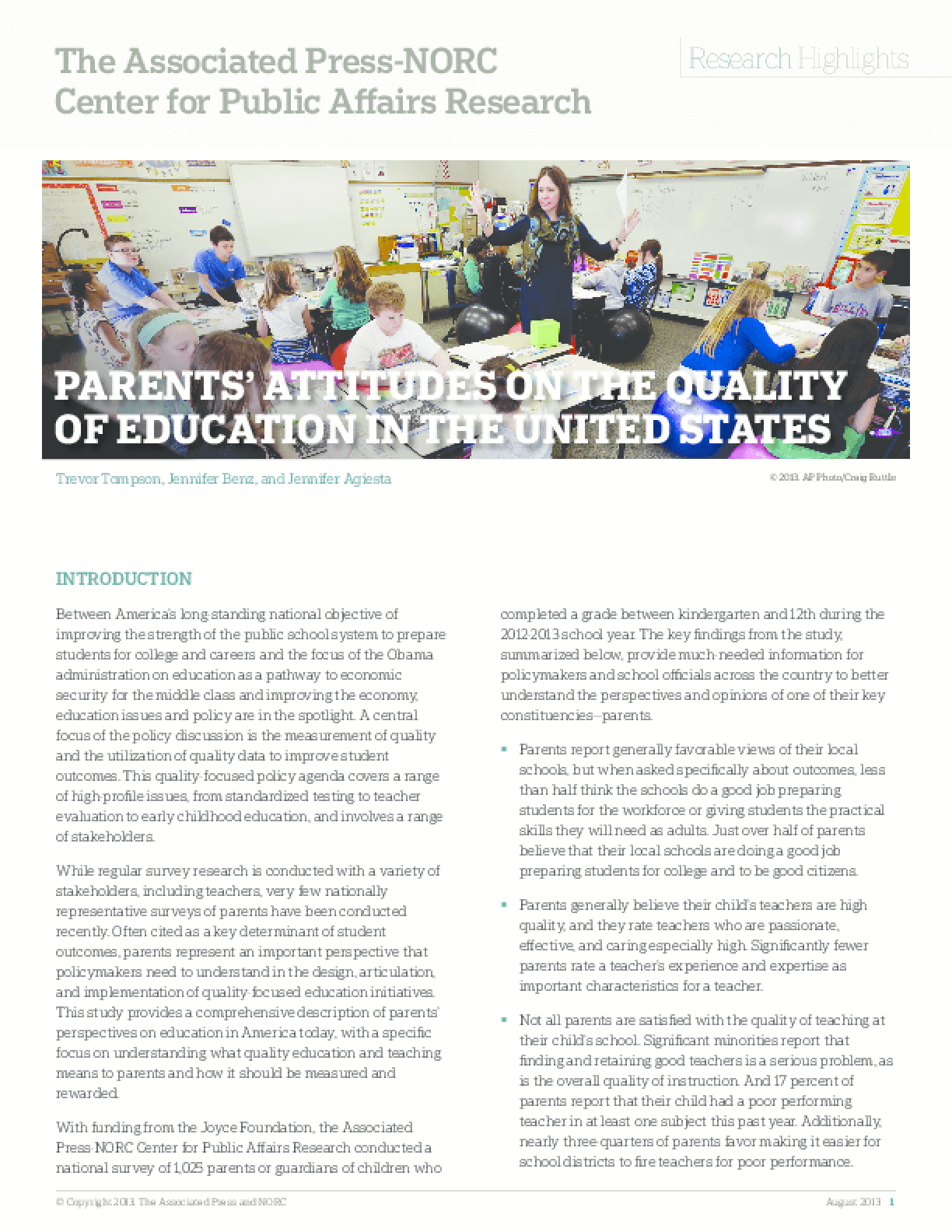 Parents' Attitudes on the Quality of Education in the United States