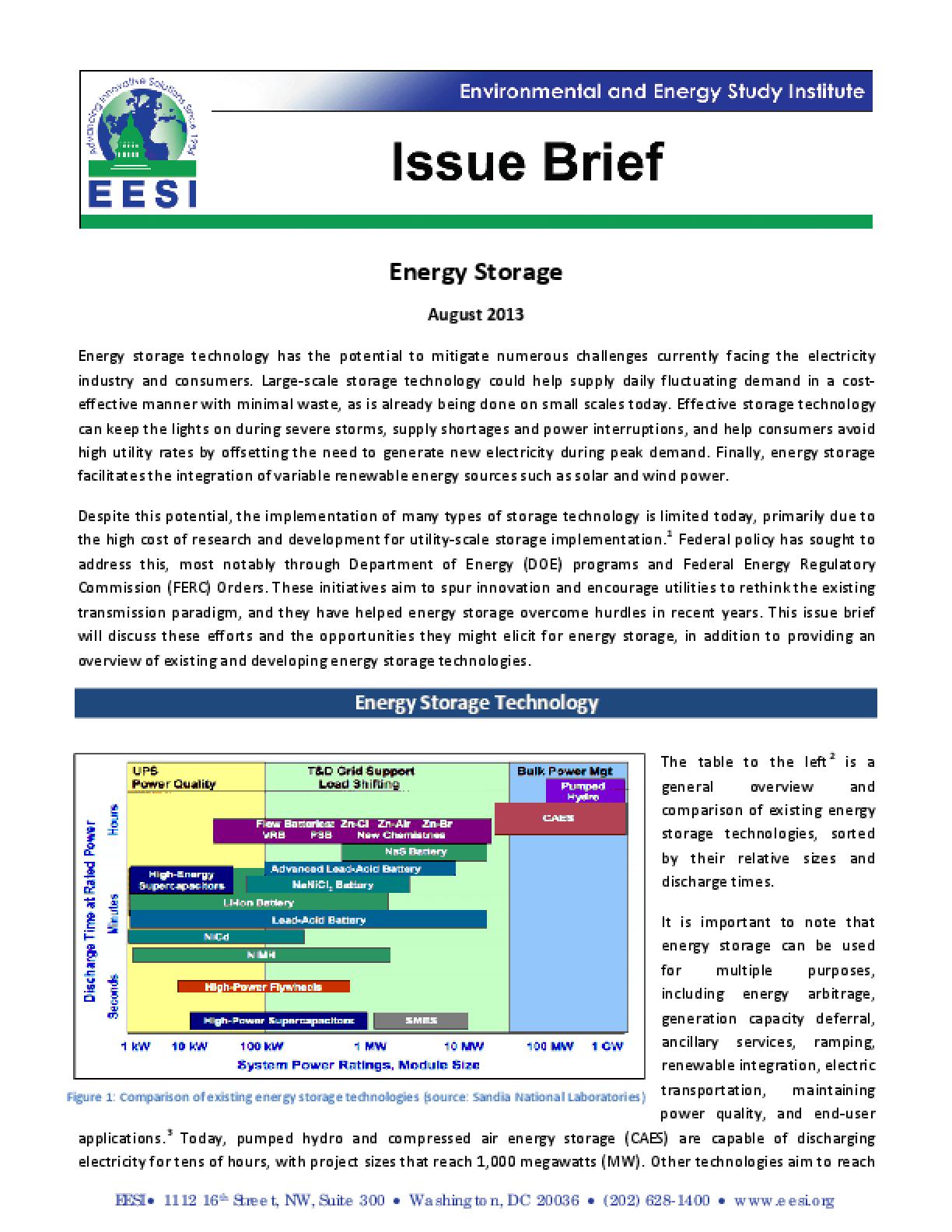 Issue Brief: Energy Storage