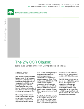 The 2% CSR Clause: New Requirements for Companies in India
