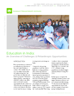 Education in India: An Overview of Challenges and Philanthropic Opportunities