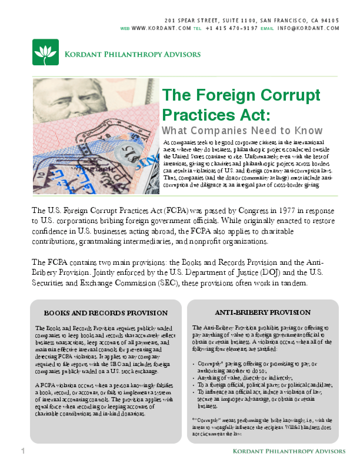 The Foreign Corrupt Practices Act What Companies Need To