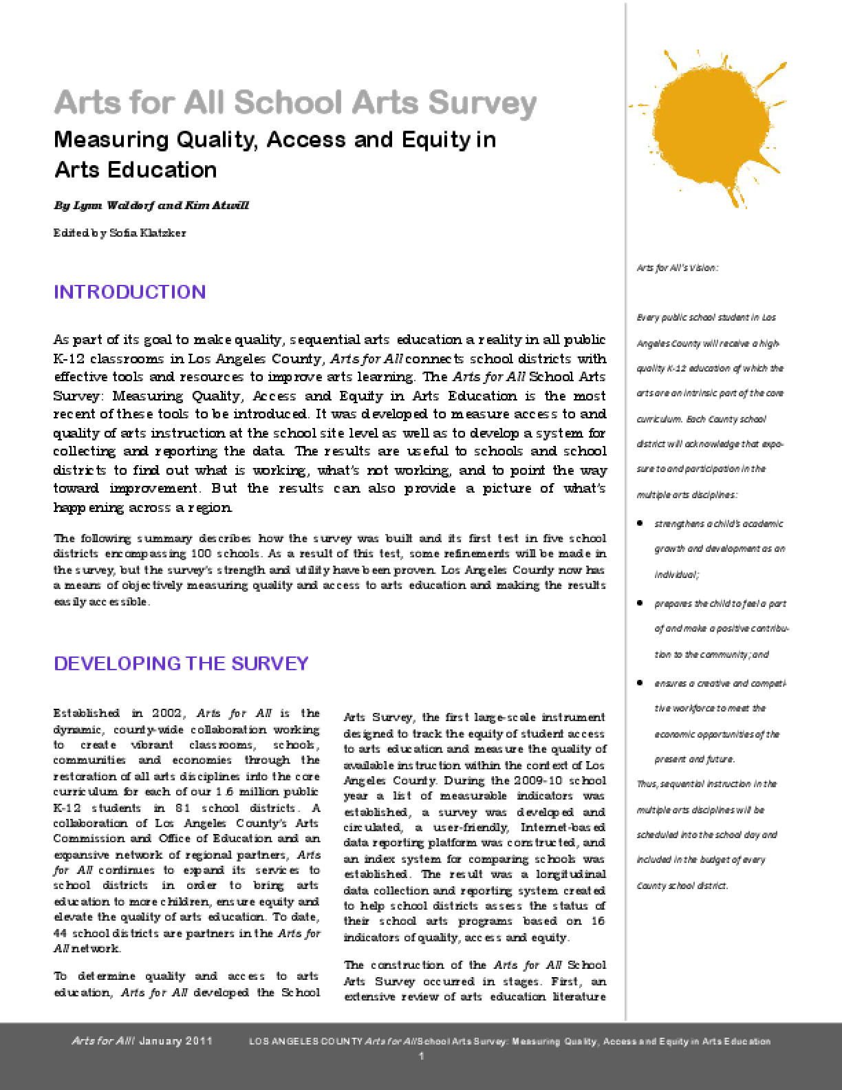Arts for All School Arts Survey: Measuring Quality, Access and Equity in Arts Education