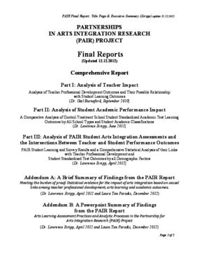 PAIR Final Comprehensive Report Part 1: Teacher Impact