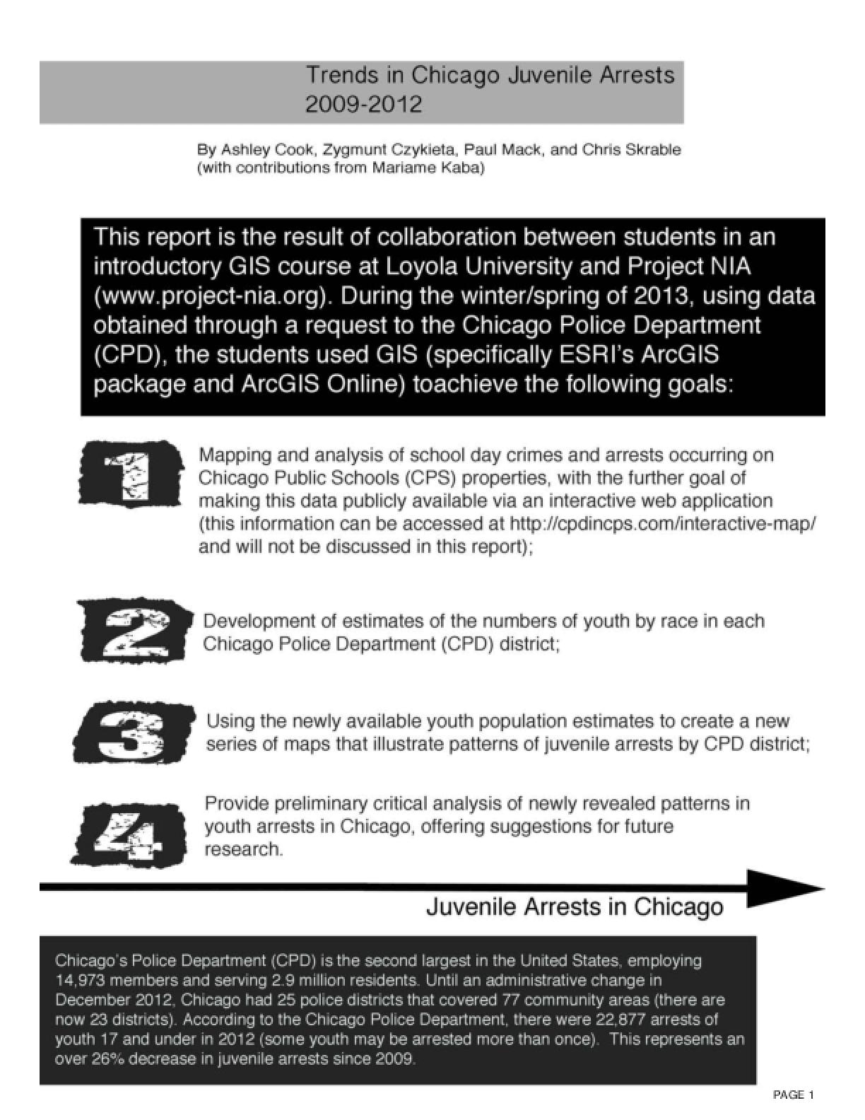 Trends in Chicago Juvenile Arrests 2009-2012