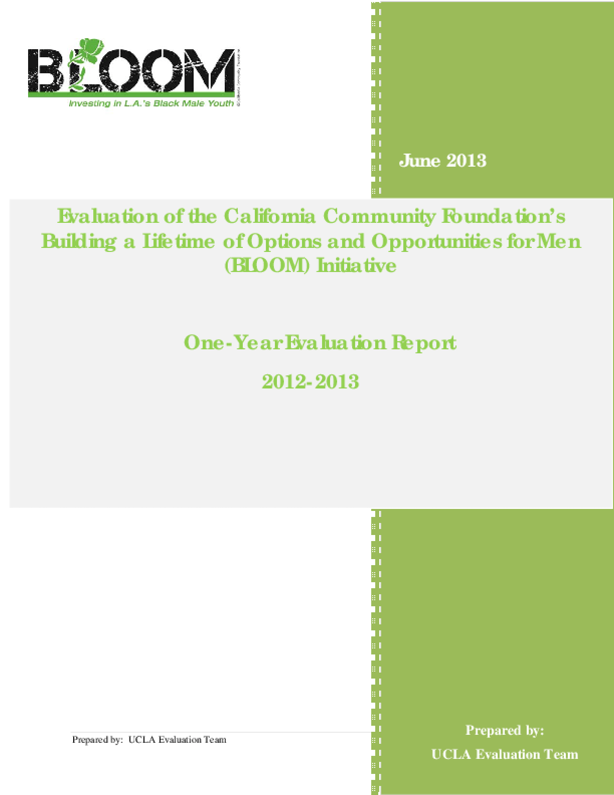 Evaluation of the California Community Foundation's Building a Lifetime of Options and Opportunities for Men (BLOOM) Initiative: One Year Evaluation Report