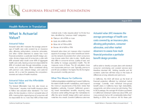 Health Reform in Translation: What is Actuarial Value?