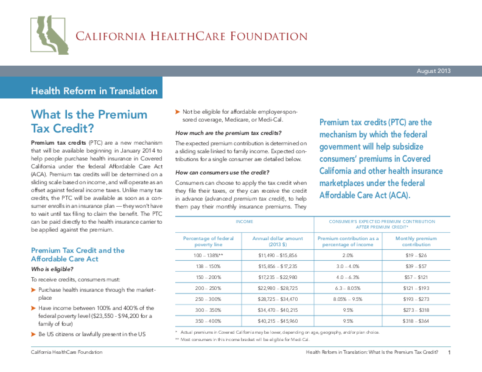Health Reform in Translation: What is the Premium Tax Credit?