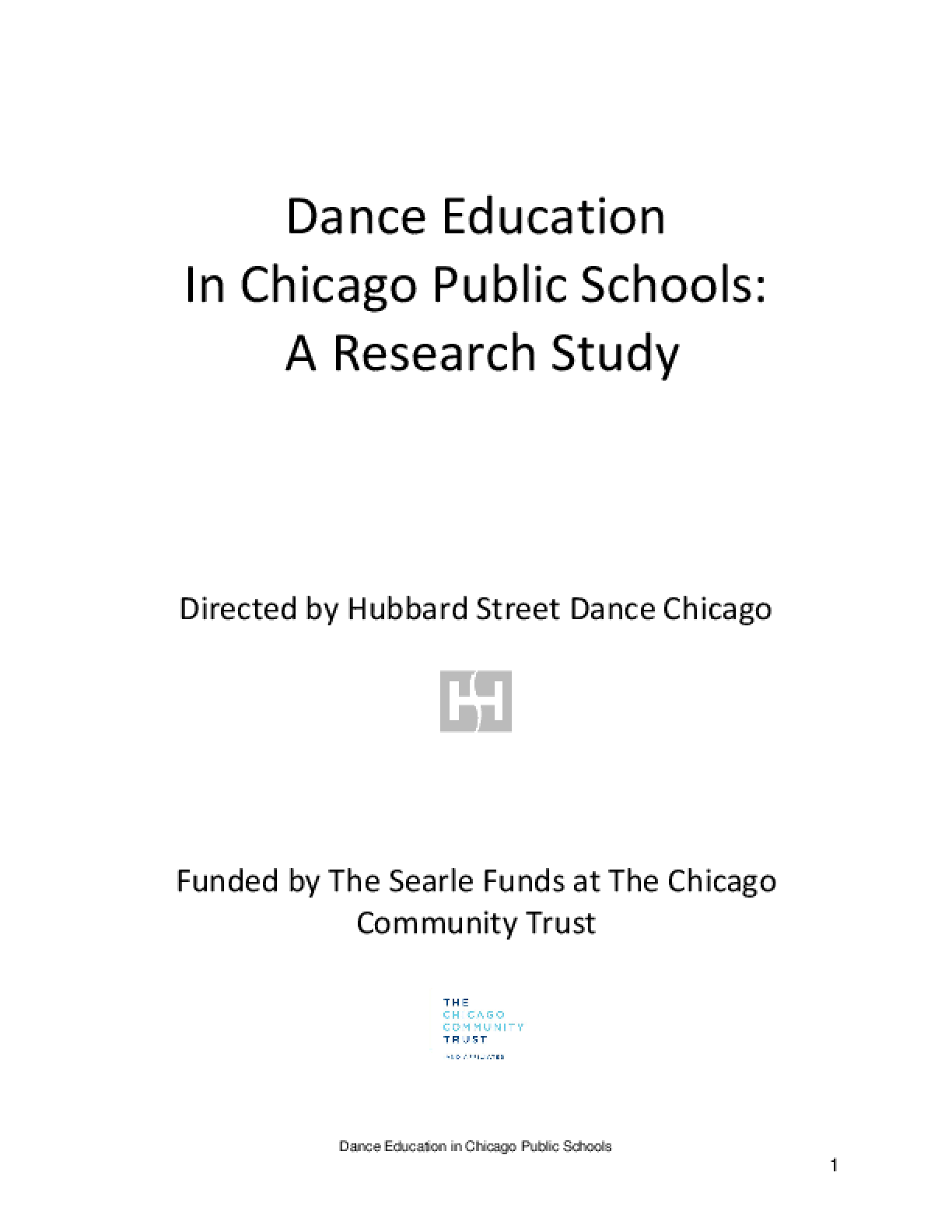 Dance Education in Chicago Public Schools: A Research Study