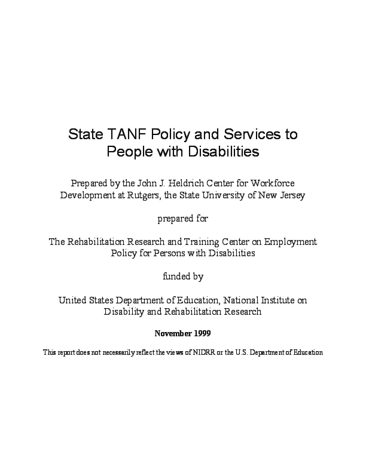 State TANF Policy and Services to People With Disabilities