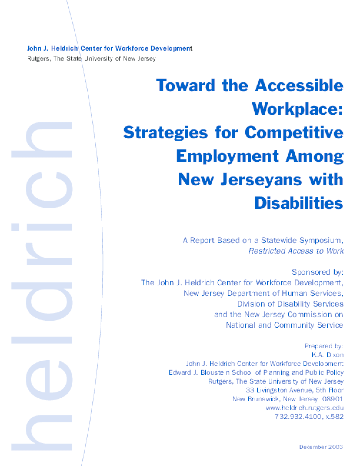 Toward the Accessible Workplace: Strategies for Competitive Employment-People with Disabilities