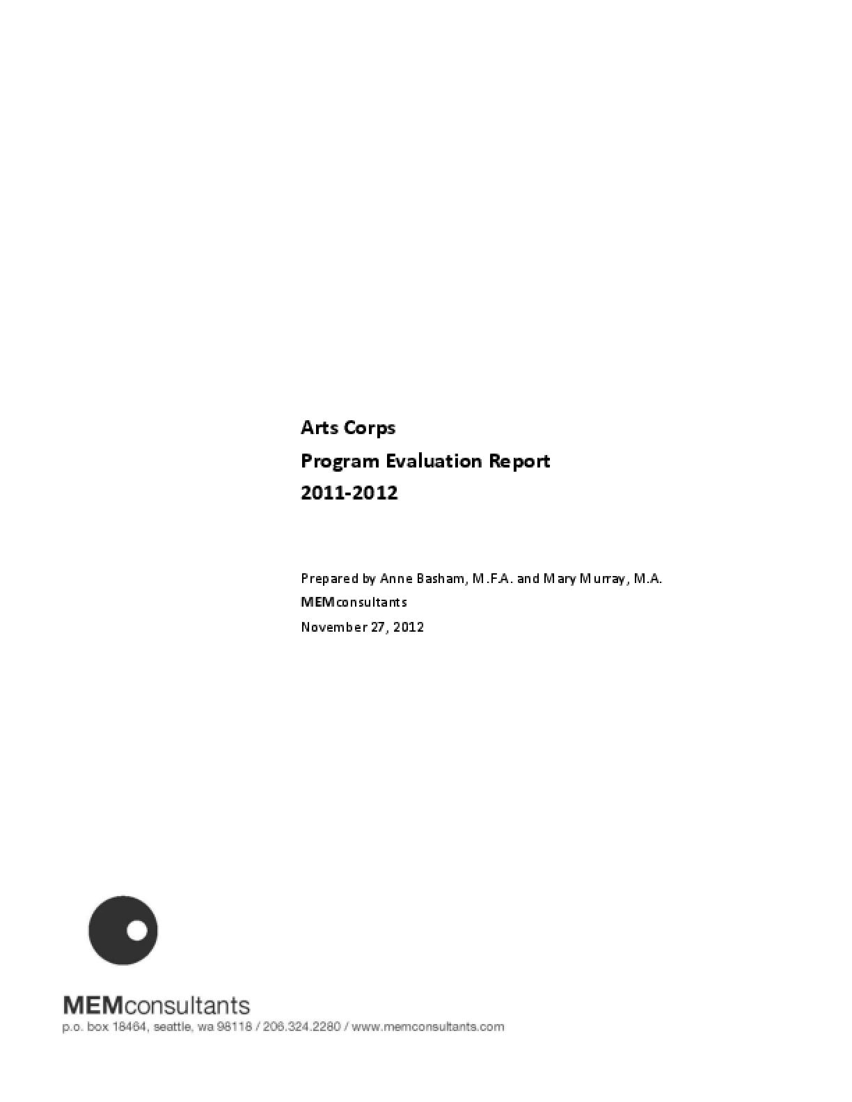 Arts Corps Program Evaluation Report