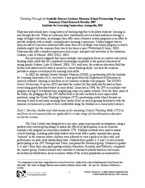 Thinking Through Art: Isabella Stewart Gardner Museum School Partnership Program - Summary Final Search Results