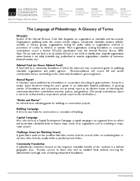 The Language of Philanthropy: A Glossary of Terms