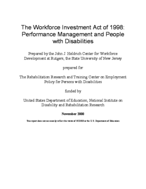 The Workforce Investment Act of 1998: Performance Management and People With Disabilities