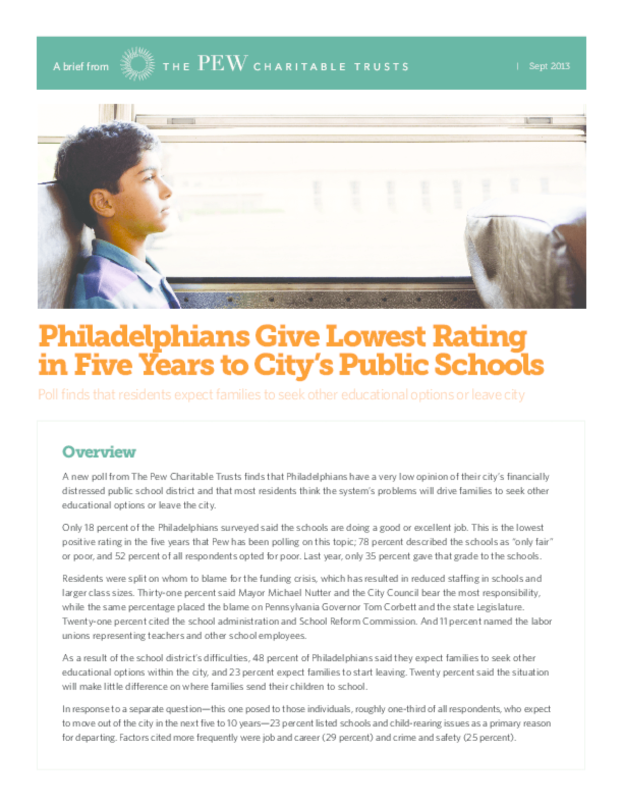 Philadelphians Give Lowest Rating in Five Years to City's Public Schools