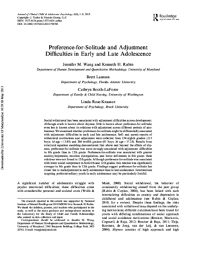 Preference-for-Solitude and Adjustment Difficulties in Early and Late Adolescence