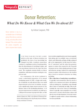 Donor Retention: What Do We Know & What Can We Do About It?