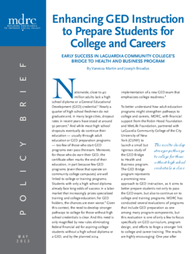 Enhancing GED Instruction to Prepare Students for College and Careers