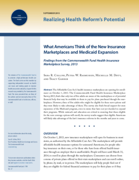 What Americans Think of the New Insurance Marketplaces and Medicaid Expansion: Findings from the Commonwealth Fund Health Insurance Marketplace Survey, 2013