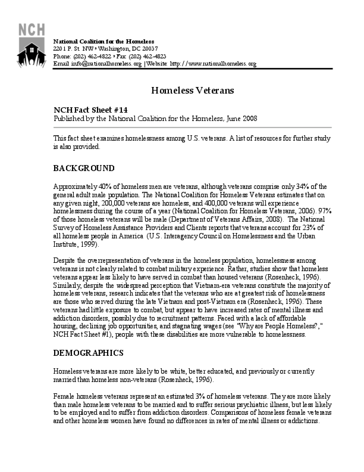 Homeless Veterans Factsheet
