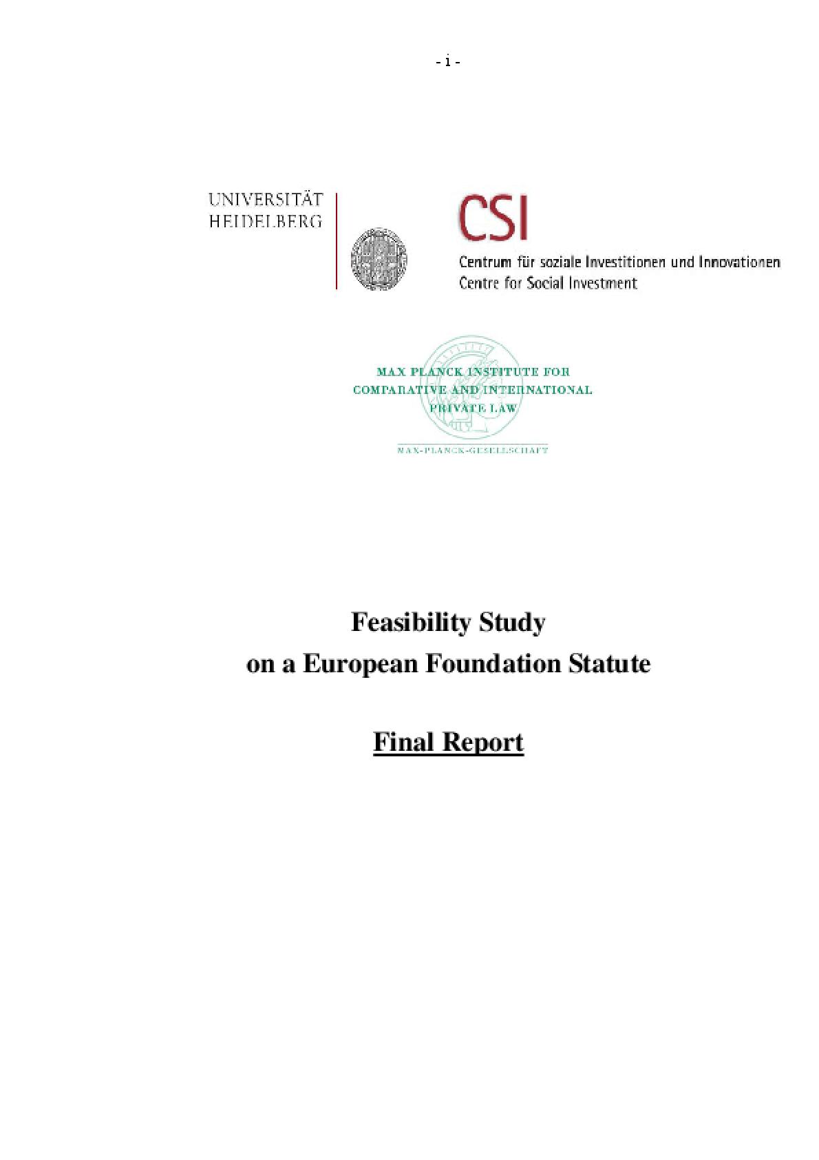 Feasibility Study on a European Foundation Statute: Final Report