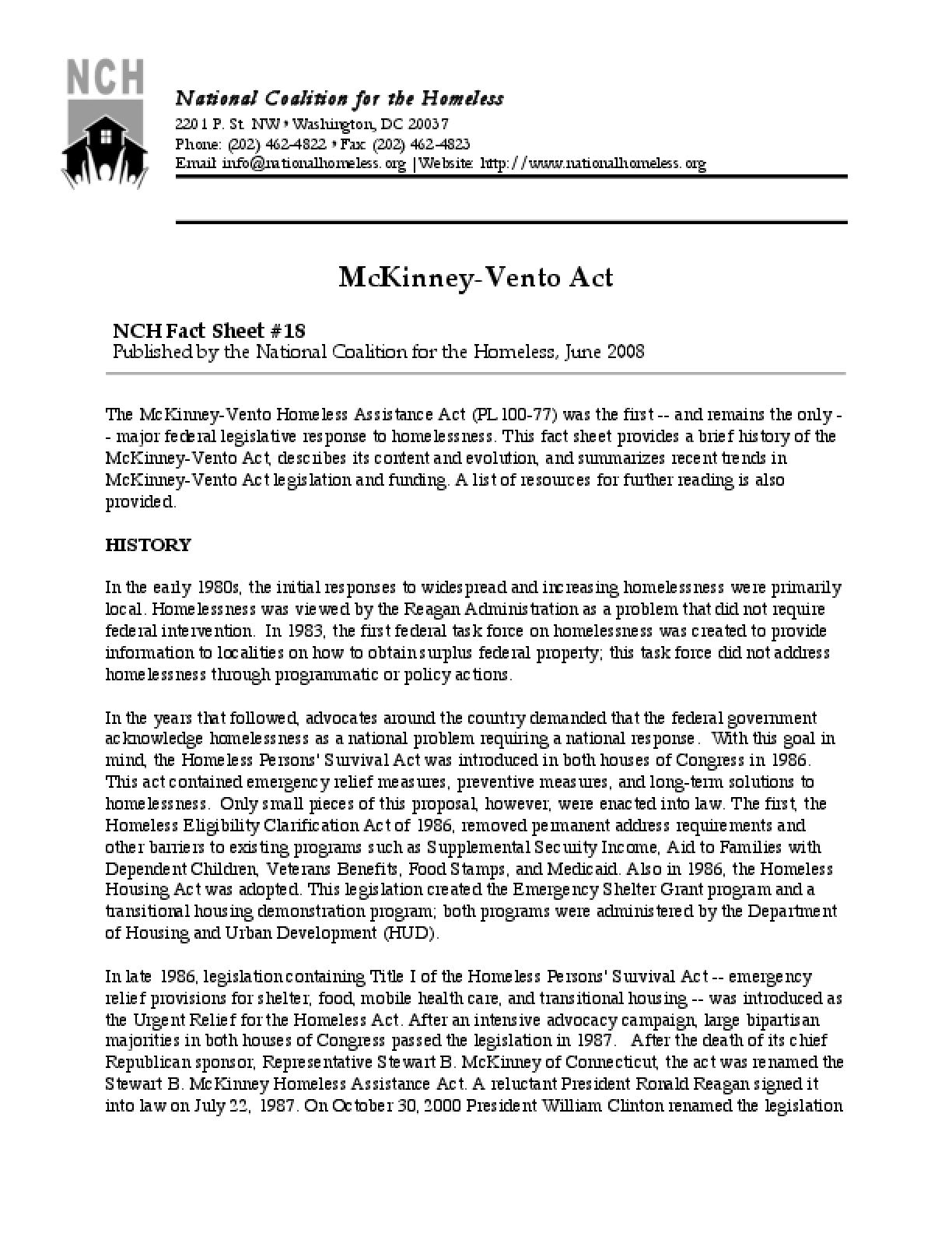 The Mckinney-Vento Act Factsheet