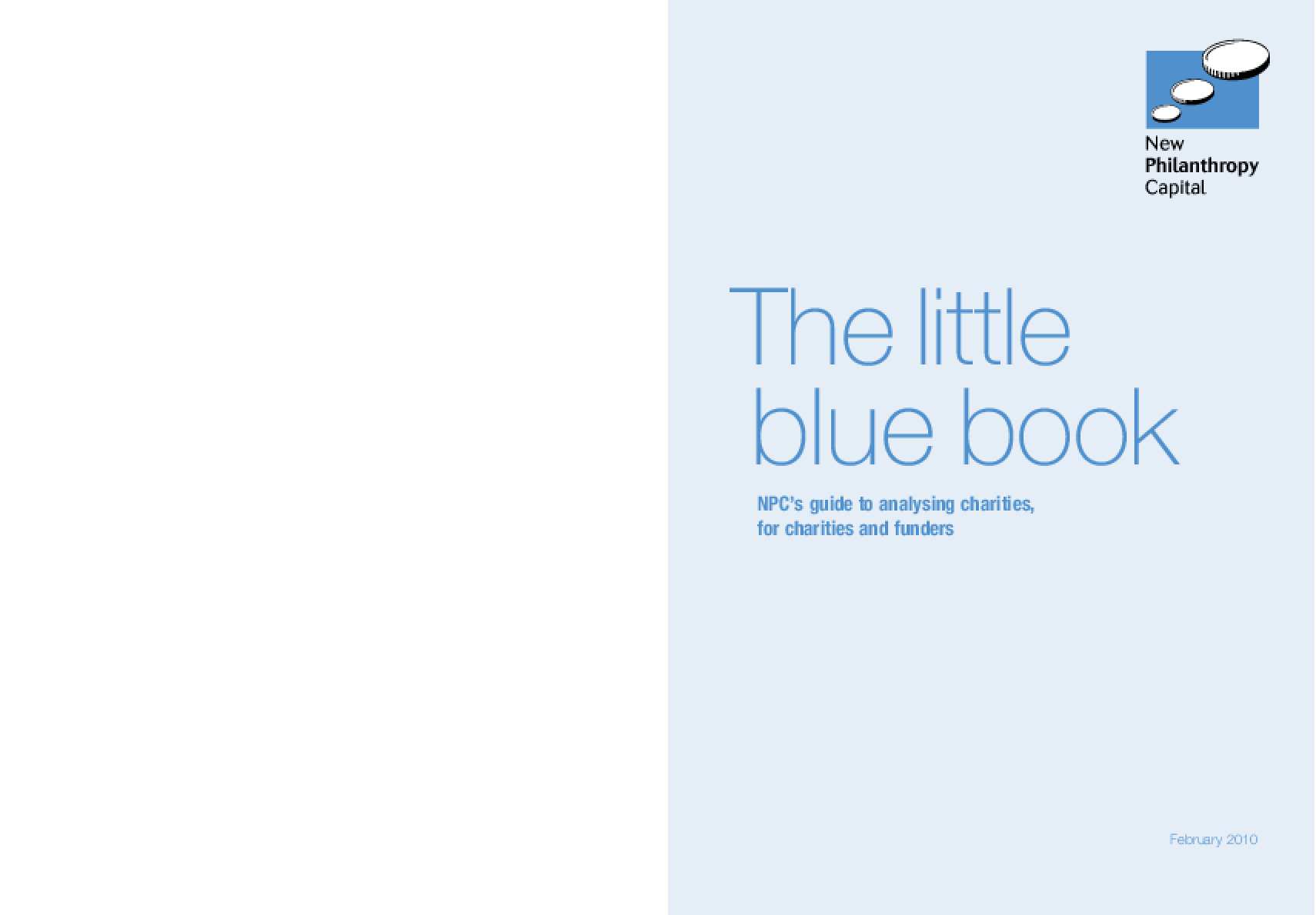 The Little Blue Book: NPC's Guide to Analysing Charities, for Charities and Funders