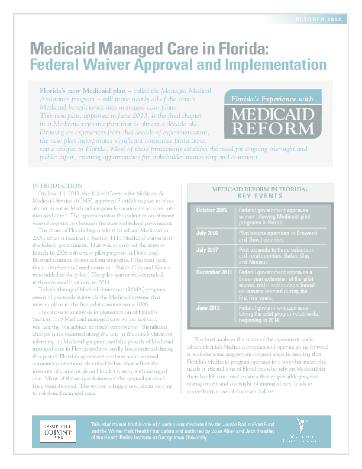 Medicaid Managed Care in Florida: Federal Waiver Approval and Implementation