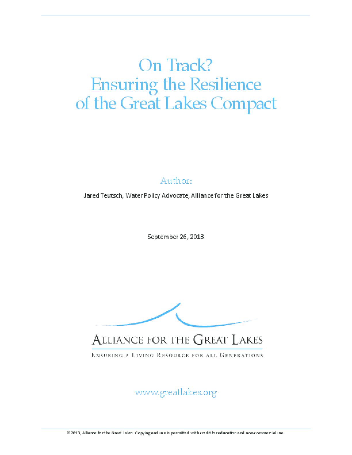 On Track? Ensuring the Resilience of the Great Lakes Compact