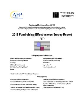 2013 Fundraising Effectiveness Survey Report