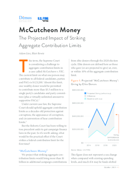McCutcheon Money: The Projected Impact of Striking Aggregate Contribution Limits
