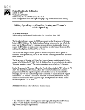 Military Spending vs. Affordable Housing and Veteran's Affairs Spending Factsheet