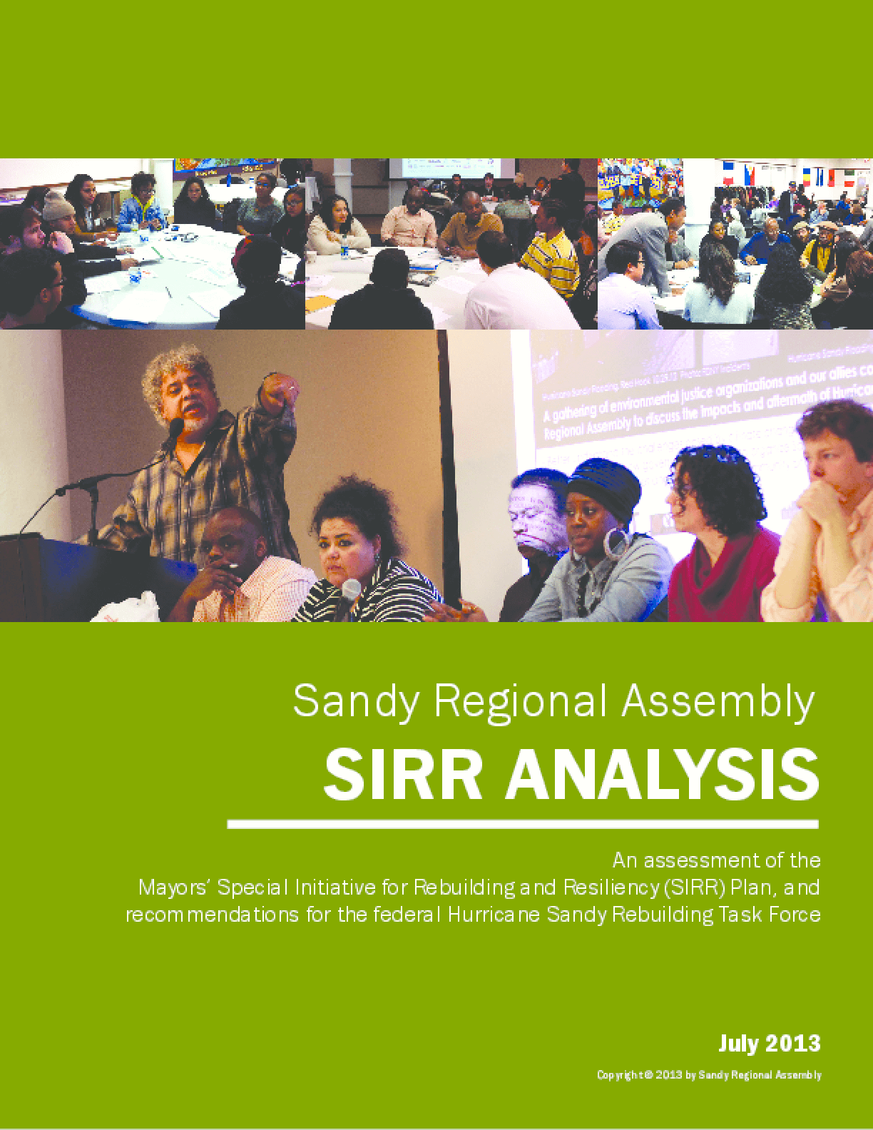 Sandy Regional Assembly SIRR Analysis