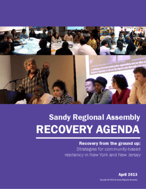 Sandy Regional Assembly Recovery Agenda